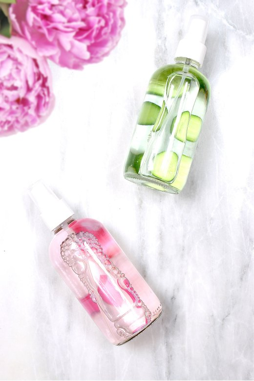 Bottles of DIY makeup setting spray in rosewater and cucumber mint varieties