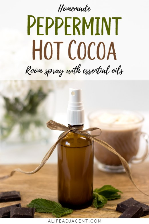 DIY peppermint hot cocoa room spray with essential oils