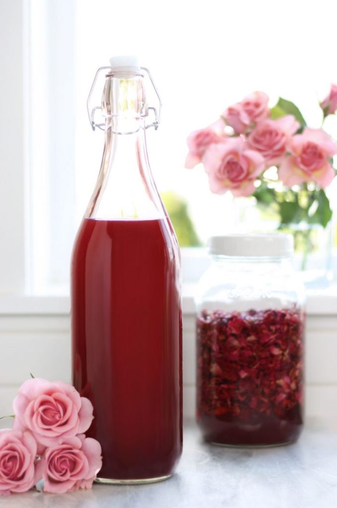 Large batch of DIY rose petal vinegar