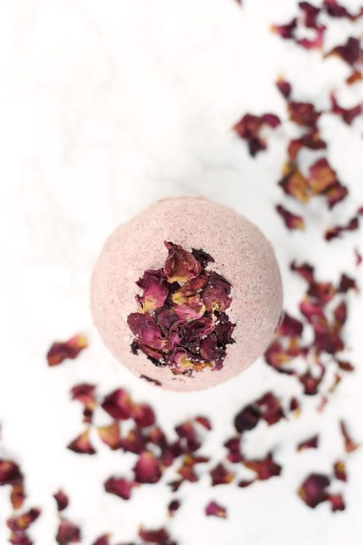 Close up of single DIY rose petal bath bomb