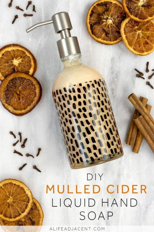 DIY homemade mulled cider liquid hand soap made from bar soap