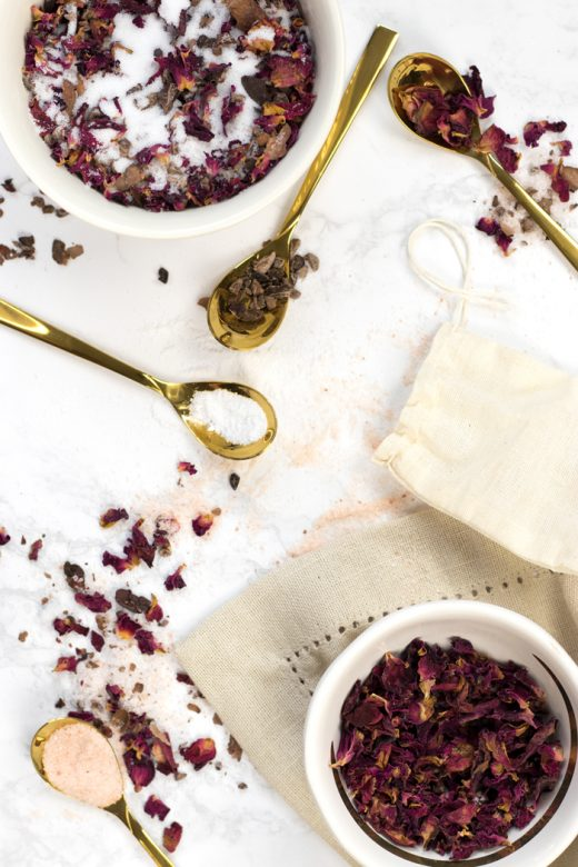 Ingredients for DIY chocolate and roses tub tea