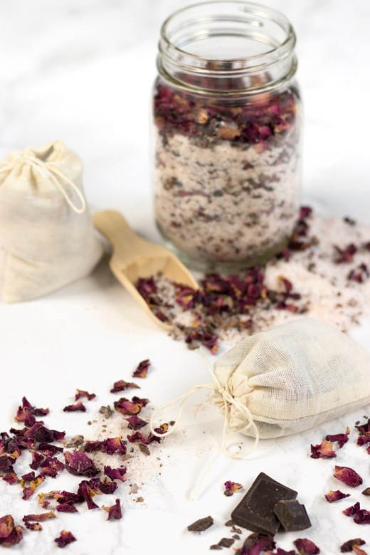 DIY rose petal chocolate bath tea for gifting