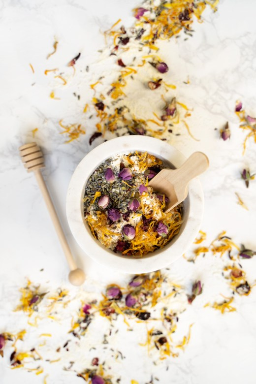 Homemade floral bath soak