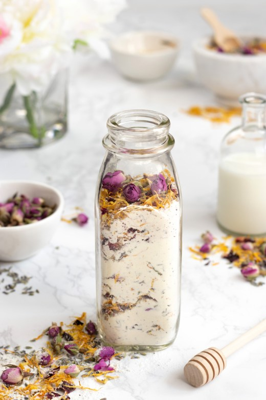 Homemade floral bath soak with milk and honey