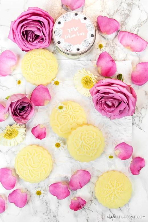 DIY lotion bars with rose essential oil