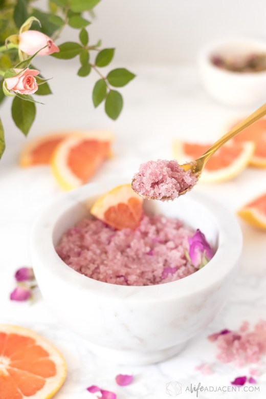 Homemade grapefruit scrub on spoon