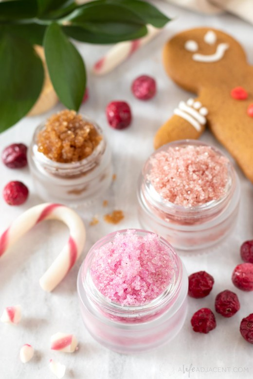 DIY holiday lip scrubs in glass jars