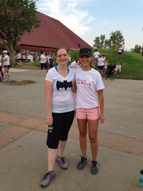Seaerra (left) and her personal trainer - about to run her first 5K!