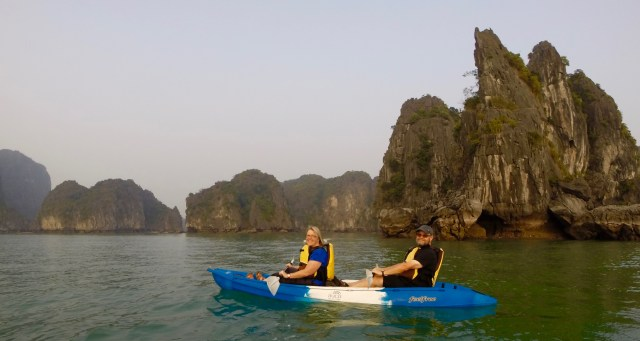Kayaking in Halong Bay!