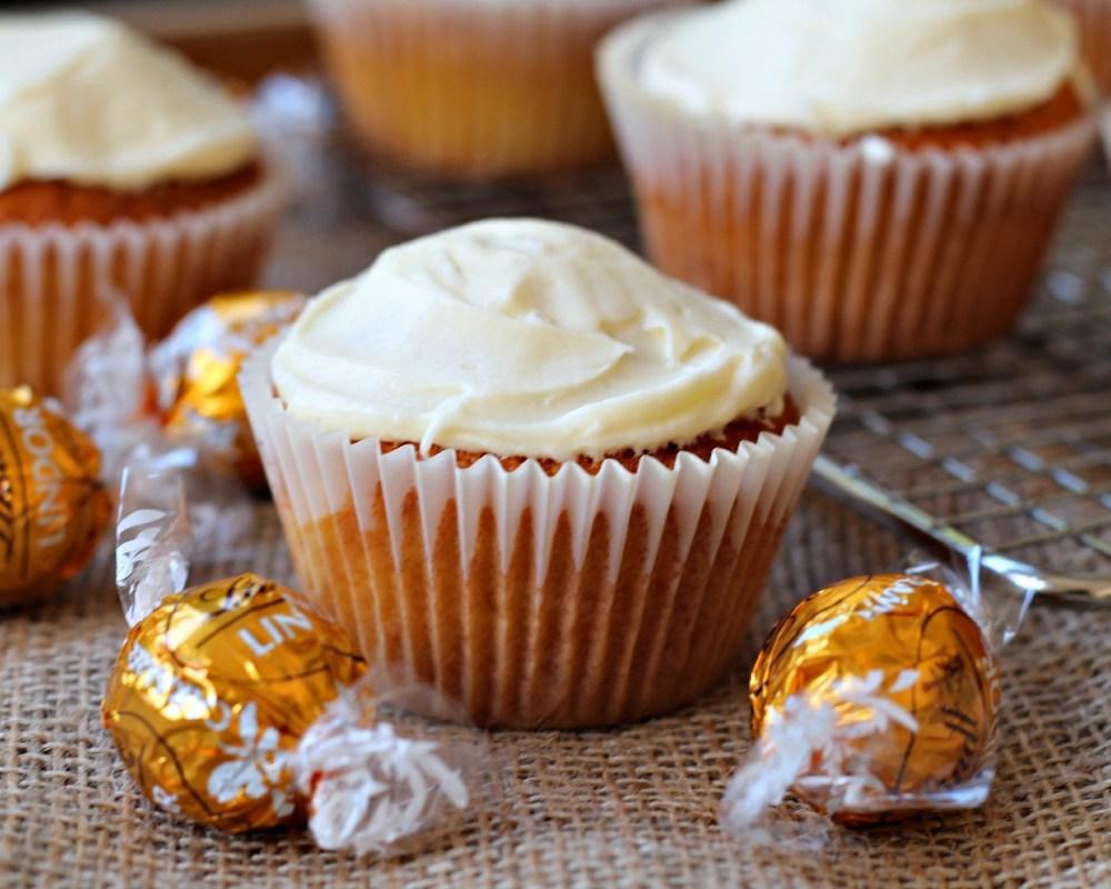 Salted Caramel Lindt Lindor Cupcakes