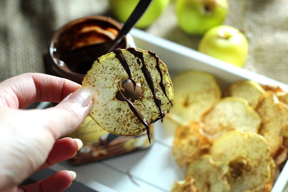 apple crisps and lindt chocolate