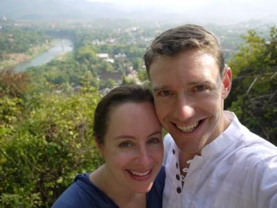 Lisa and Mike overlooking Luang Prabang Laos