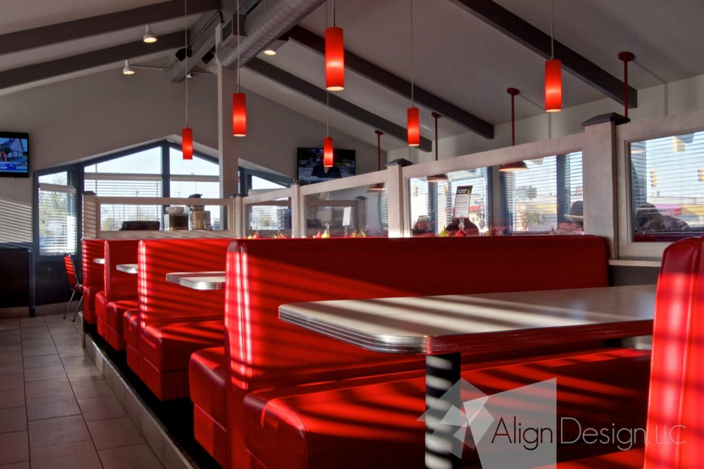 commercial interior design remodel retro diner feel in a modern feel