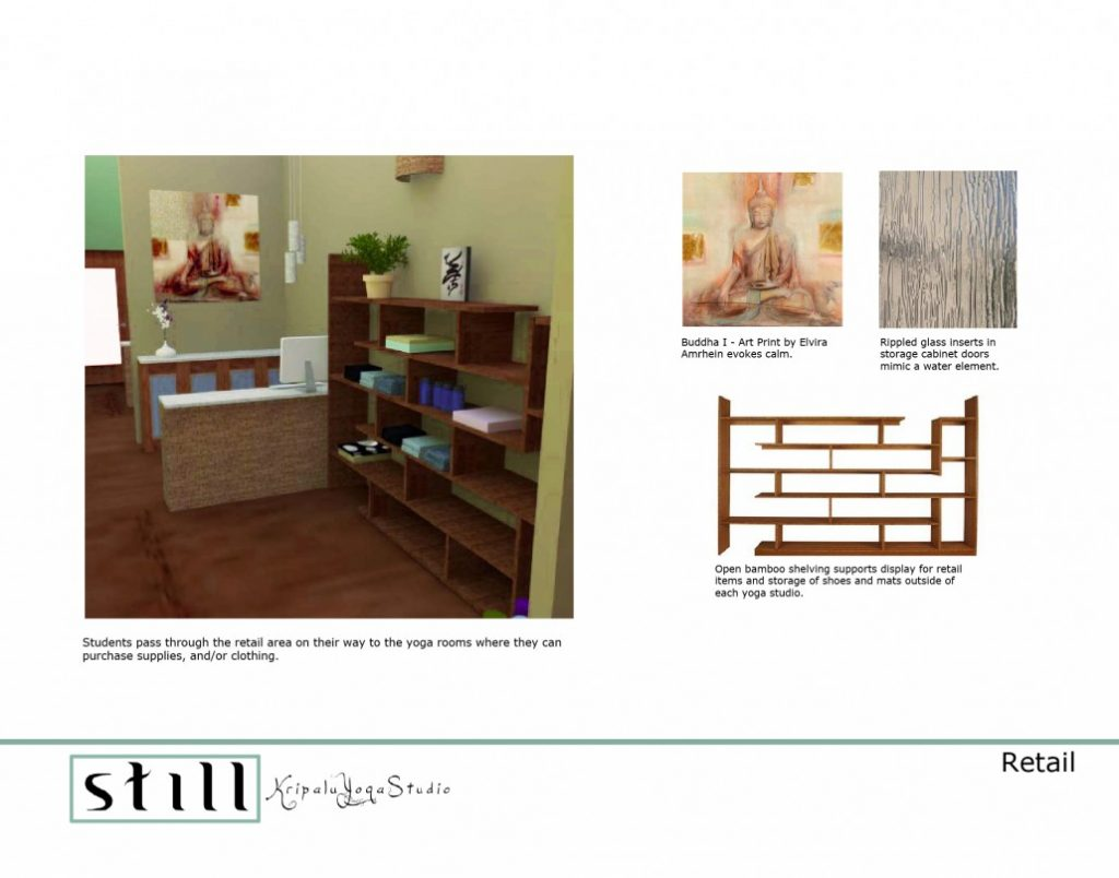 yoga studio retail space interior design sketch and styleboard