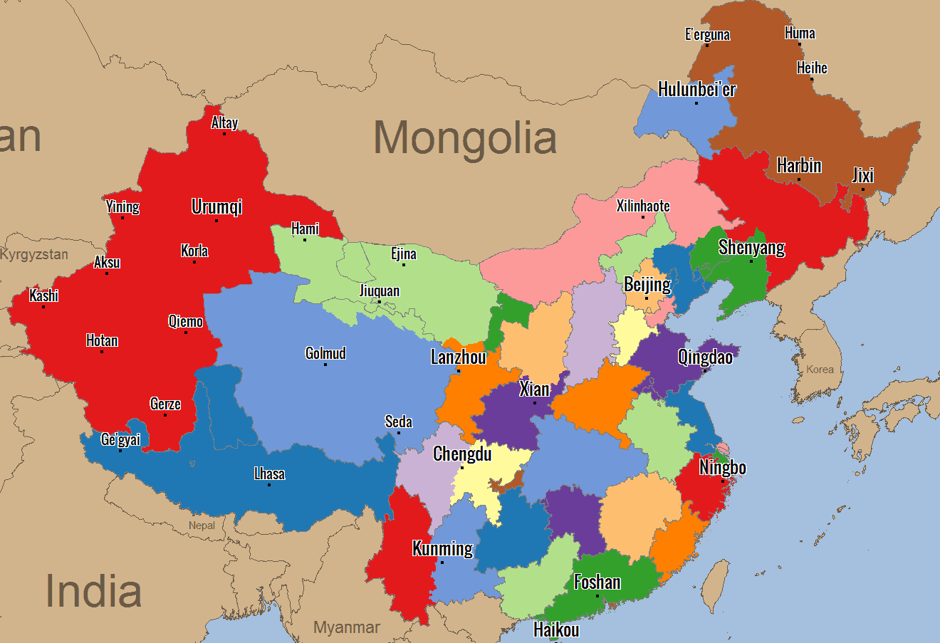 Sales Territories in China