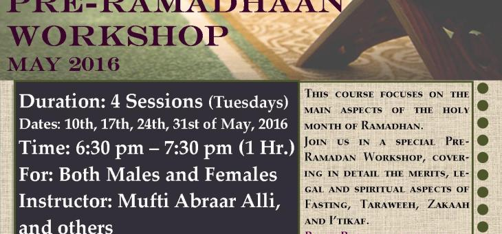 Ramadhan Workshop 2016