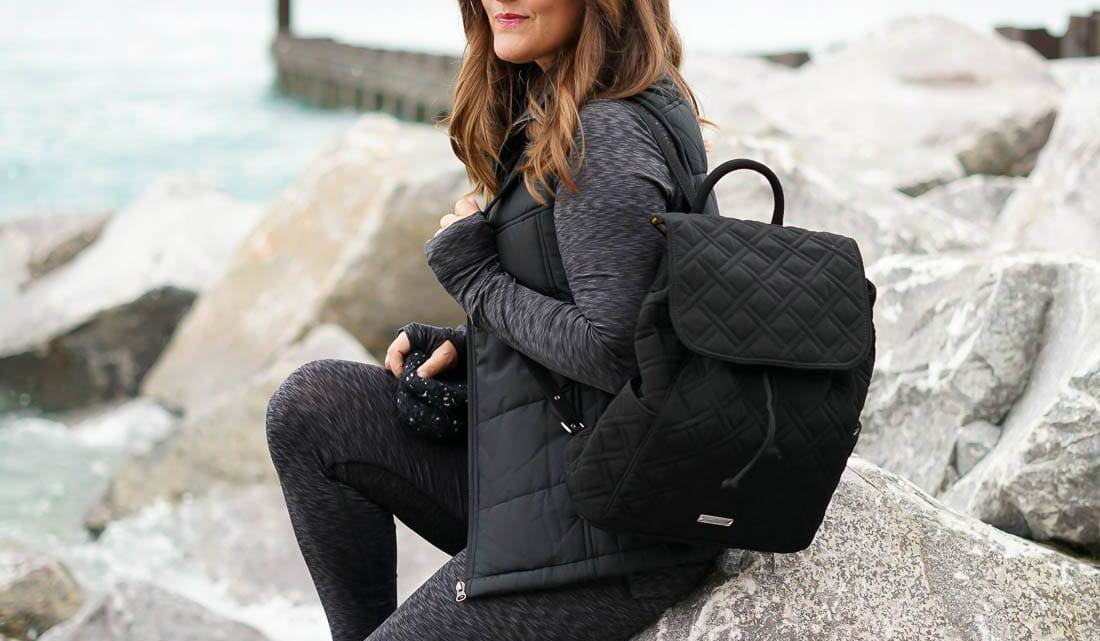 Cuddl Duds, Fall Essentials, Activewear, Chicago Blogger, Vera Bradley quilted backpack