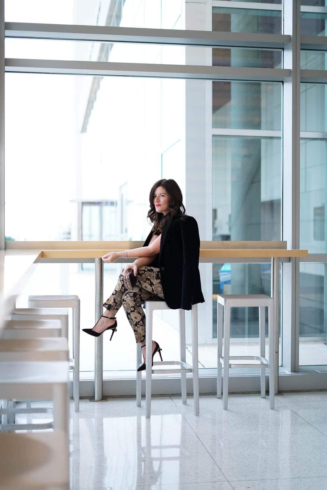 Ann Taylor Gold Pants, chicago blogger, black velvet blazer, j.crew velvet peplum top, tory burch black heels, holiday style