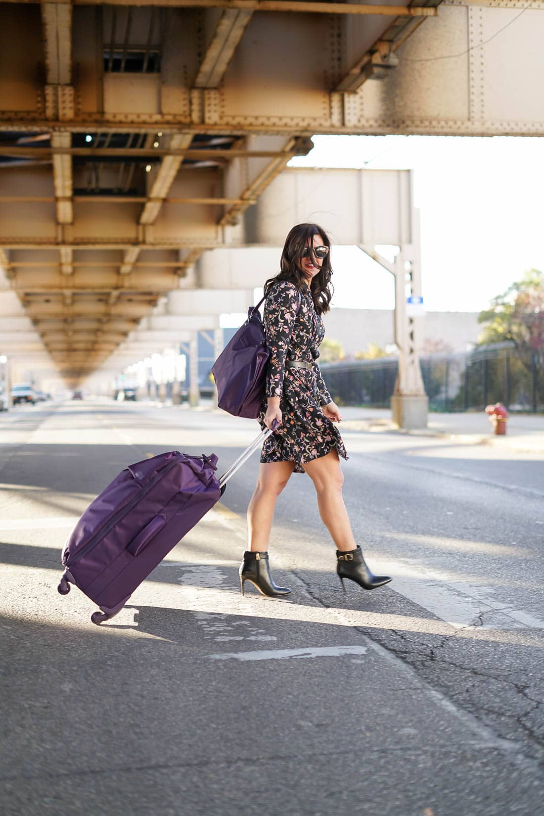 Travel style, Lipault Luggage, leather coach booties, A Lily Love Affair, Just Fab Floral Dress, Chicago blogger