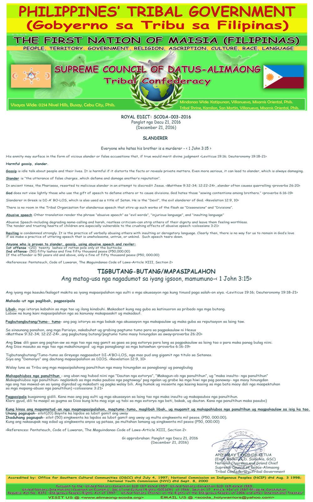 SCODA – Tribal Confederacy-Tribal Government