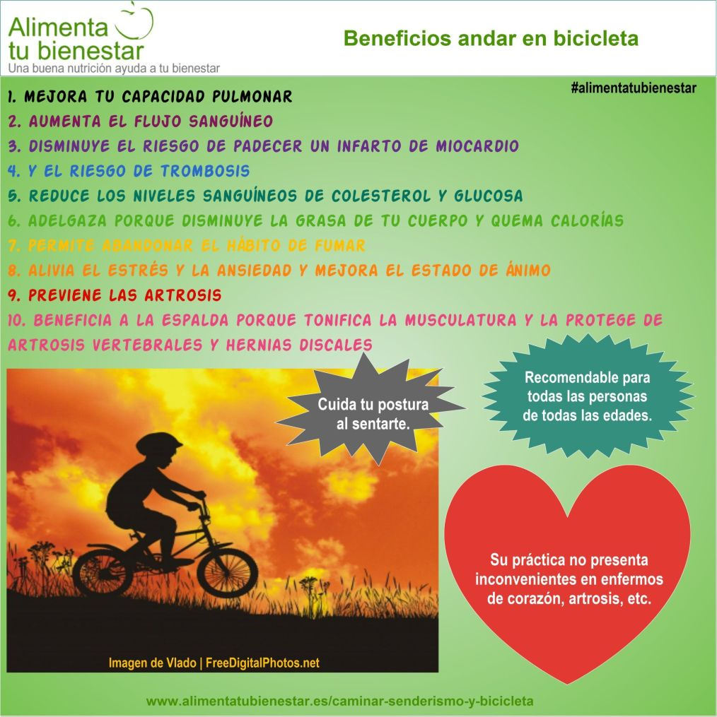 Beneficios saludables de andar en bicicleta
