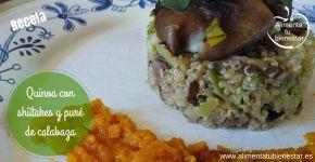 Receta de quinoa con shiitakes y puré de calabaza