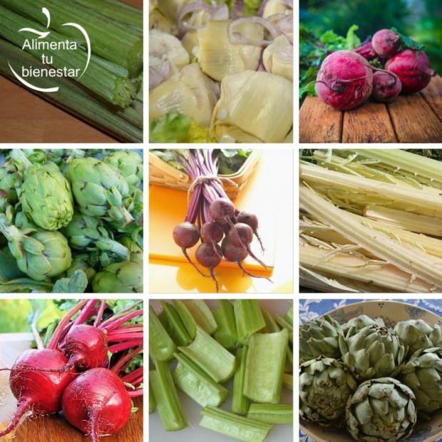 Verduras depurativas desintoxicantes remolacha, alcachofa y cardo