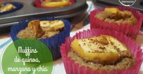 Receta saludable Muffins de quinoa, manzana y chía con estevia