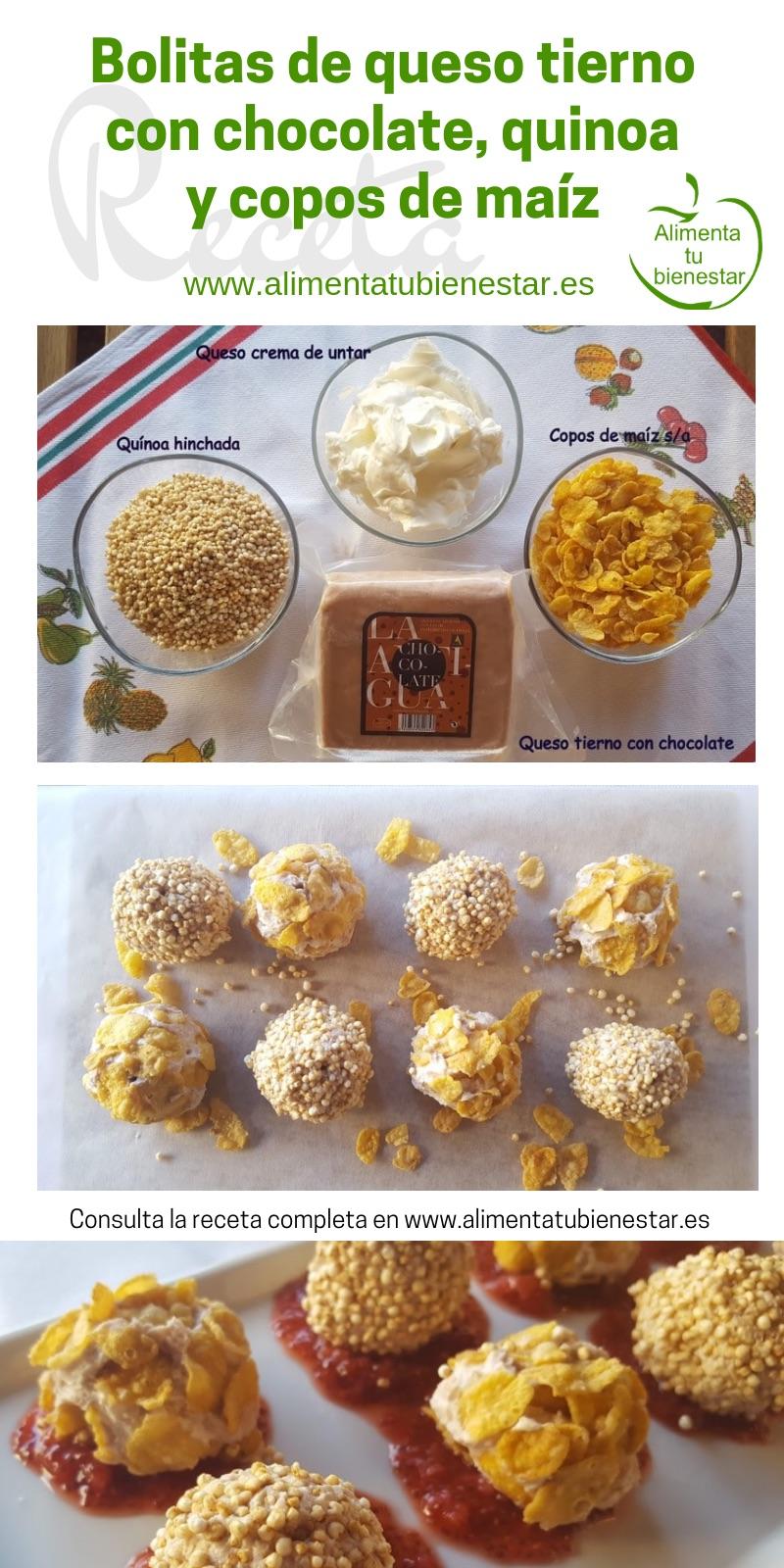 Bolitas de queso tierno con chocolate, quinoa y copos de maíz, receta
