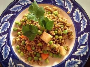 wok di verdure grano saraceno piselli ricetta salutare 01