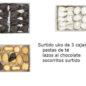 Surtido uko de 3 cajas (pastas de té, lazos al chocolate, socorritos surtido)