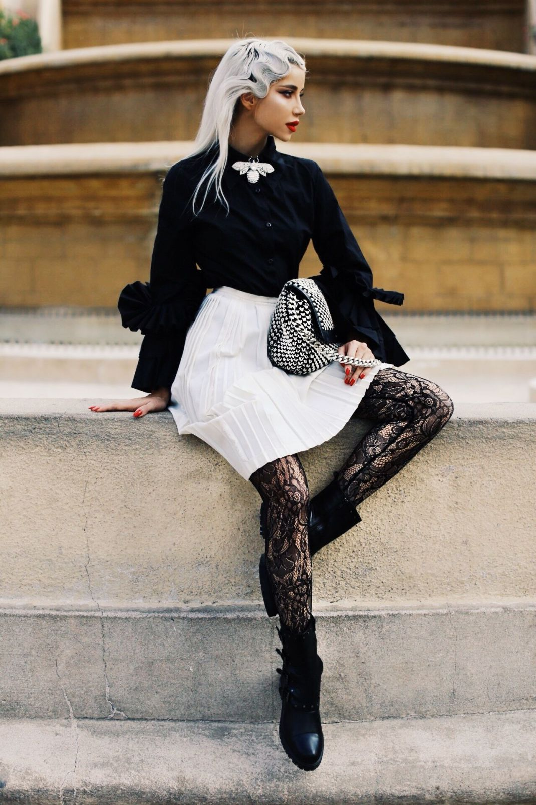 LOOKS: Biker boots and lace in Barcelona
