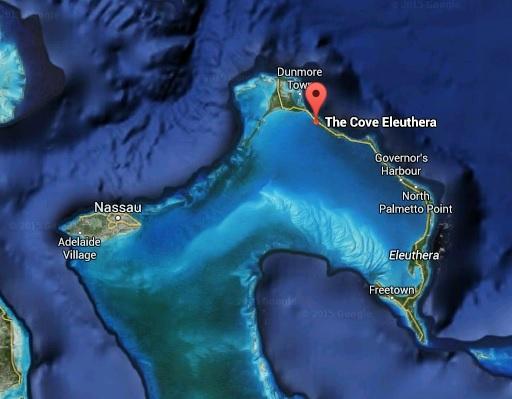 Map of Bahamas - how close Eleuthera is to Nassau (Providence Island)