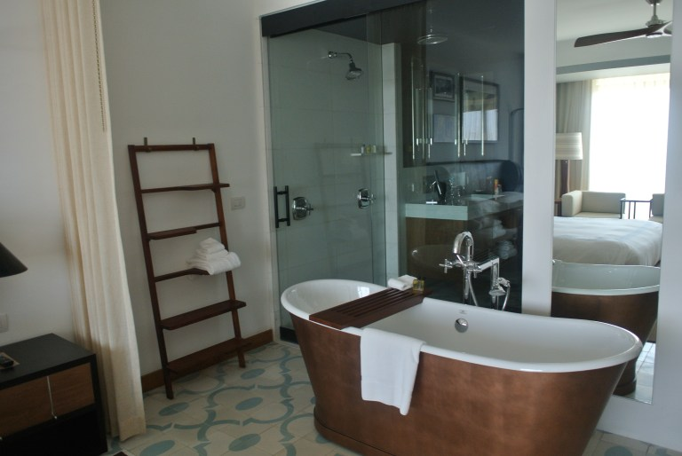The vintage standalone soaker tub is nice touch, and the separate large shower is amazing