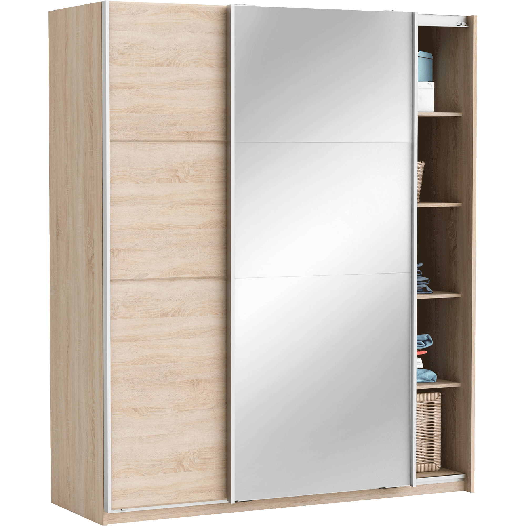 Armoire 2 Portes Coulissantes Effet Chne Bross SLIDY