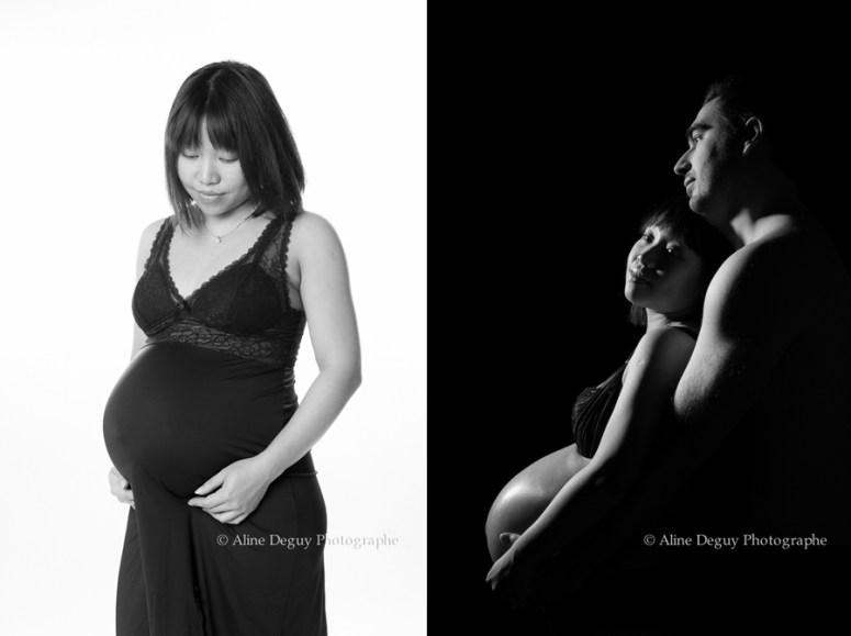 photographe, couple, studio, maternité, grossesse, clair obscur