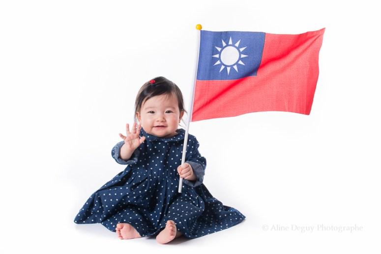 Photographe, bébé, Taïwan, métisse, asiatique, fille, studio