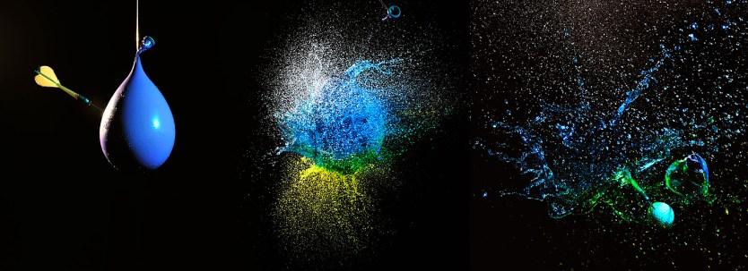 """Verdele obtinut prin amestecul celor doua """"ape"""" colorate, tehnica balon in balon :)"""