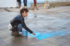 """A new scene involved and upper angle of the camera, so glitter had to be """"arranged"""" on the ground for beautiful bokeh"""