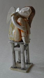 figurative-ceramics - 12b.Dreaming-Angel-2-faience-glazesh18