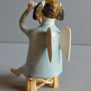 figurative-ceramics - angel-with-horn-blue-3