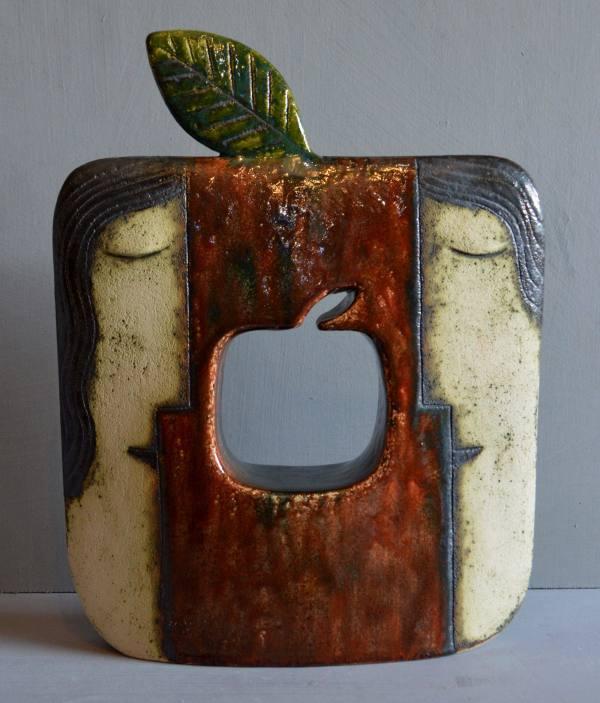 Ceramic sculpture - Adam and Eve with apple