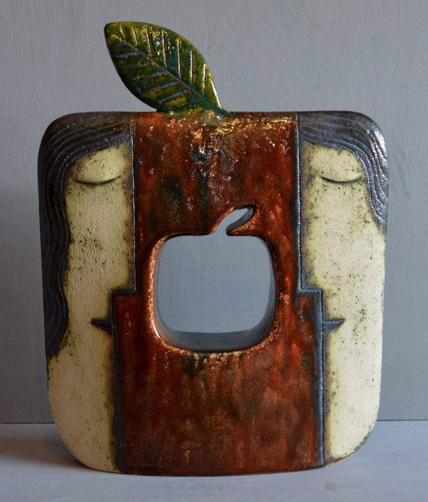Ceramic sculpture - Adam and Eve with apple