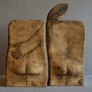 Ceramic sculpture, Adam & Eve with apple
