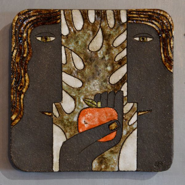 ceramic plaque with couple with apple