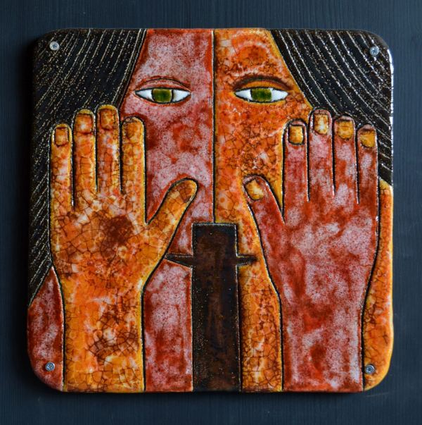 on-board - Beginnings-triptych-ceramic-panels-on-board-90x90-9