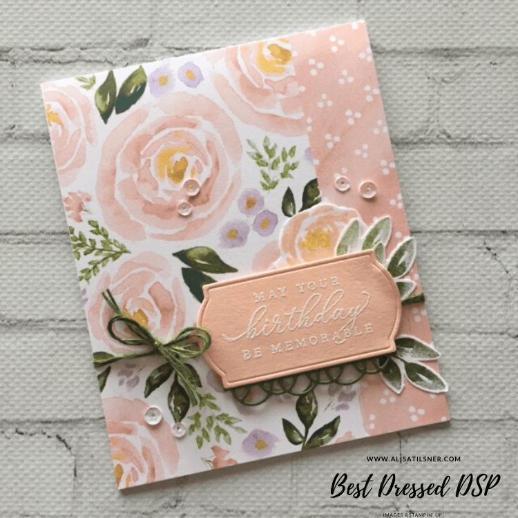 Best Dressed Designer Series Paper by Stampin' Up!  Card by Alisa Tilsner