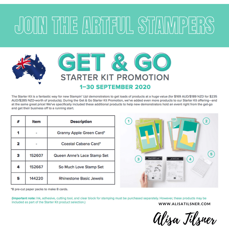 Join The Artful Stampers with the Get & Go Starter Kit Promotion.
