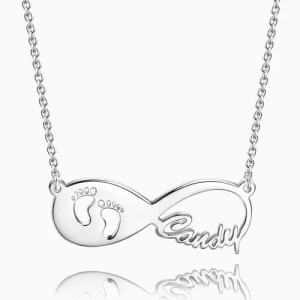 Baby Footprint Infinity Name Necklace
